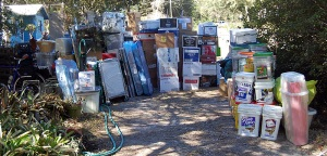 All of my worldly pocessions sitting out on the front lawn like a giant yardsale.