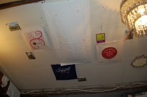 You can see that I have started decorating the ceiling/walls of the attic with yarny sorts of things...