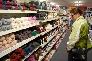Sarah checking out the yarn selection