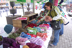 The Fyberspates Stall with Sarah going a little nutty when she found out that those batts were for SALE!!!