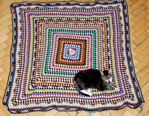 Granny Blanket with Jiji for scale