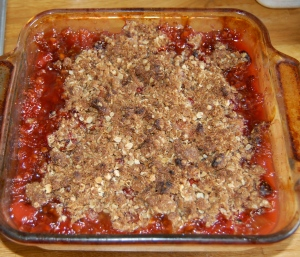 A completed strawberry-rhubarb crumble