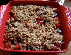 A Mixed Berry Crumble awaiting the oven