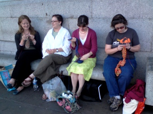 Can you tell that I am trying really hard to concentrate on my knitting and not freak out because BRENDA DAYNE is sitting 2 feet away from me?  (In the white top)