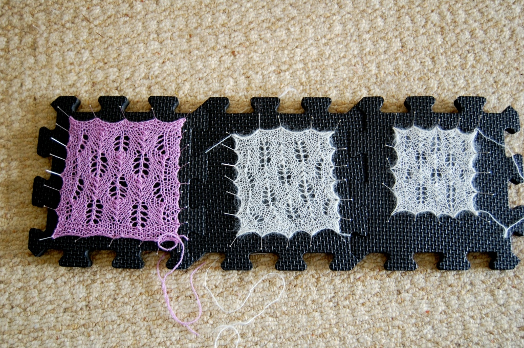 From Left: Pattern done in Jamieson & Smith 2 Ply Lace Yarn with a 2.5mm needle.  Pattern done in alpaca single lace weight with same needles.  Pattern done in alpaca lace weight with 2mm needles.