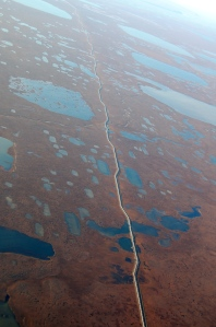 This is the begining of the Trans Alaskan Pipeline near Prudoe Bay.