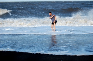 This is Ryan, our tour guide, taking a dip in the Arctic Ocean.